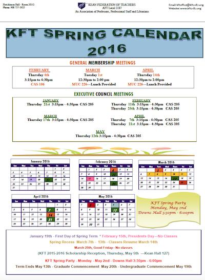 KFT Spring Calendar 2016